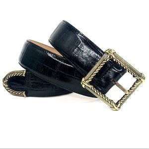 Brighton Black Croc Leather Belt